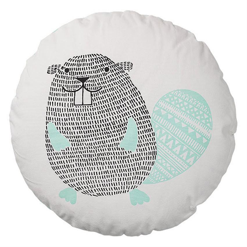 Cotton Pillow With Beaver
