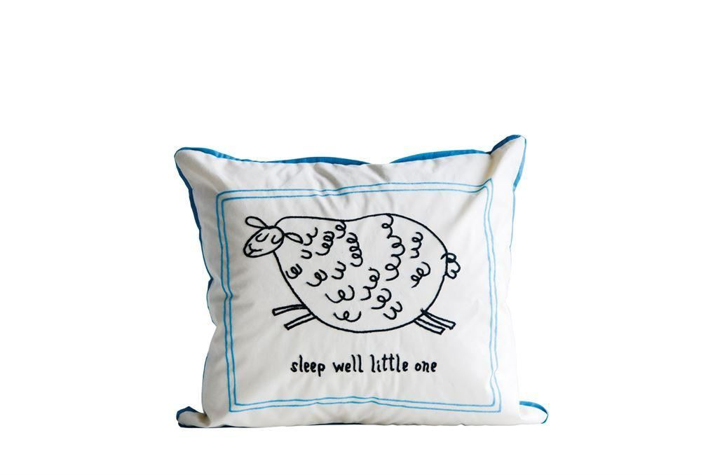 Cotton Pillow With Embroidery Saying Sleep Well Little One