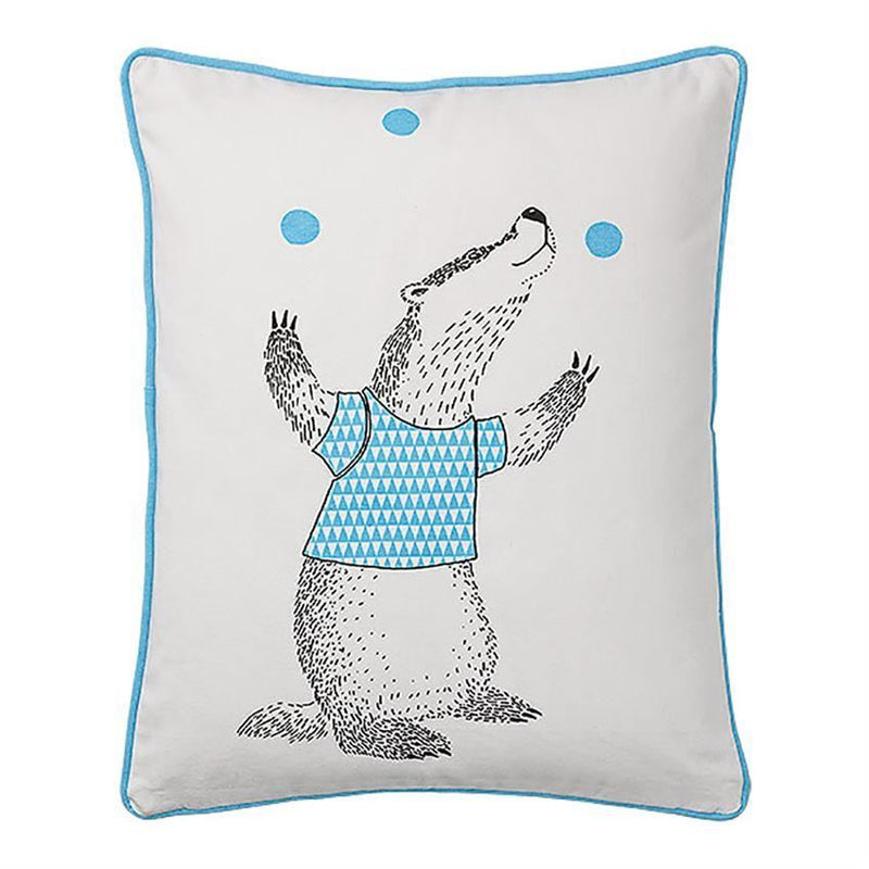 Cotton Pillow With Juggling Badger - Pillow