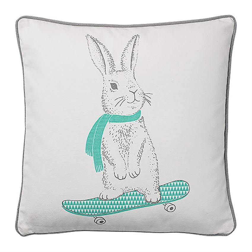 Cotton Pillow With Rabbit On Skateboard - Pillow