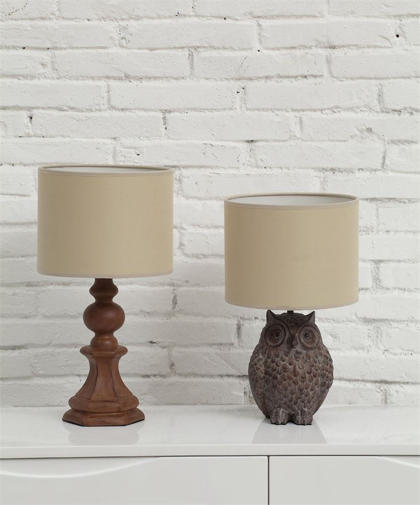 Resin Owl Shaped Table Lamp with Linen Shade