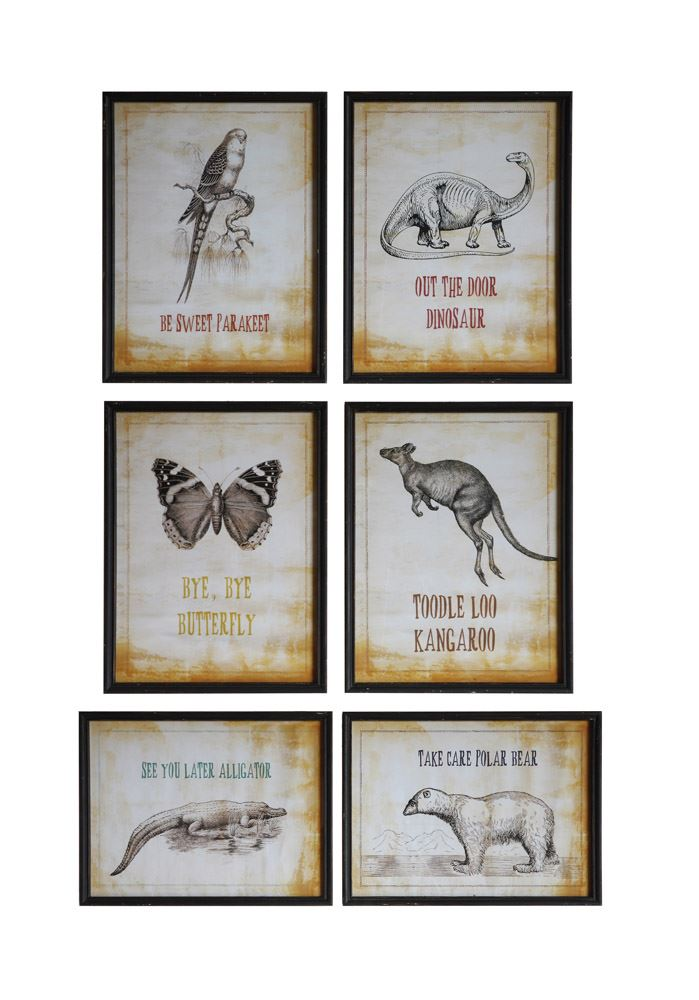 Set of Six Wood Framed Animal Wall Decor in Distressed Black Frame