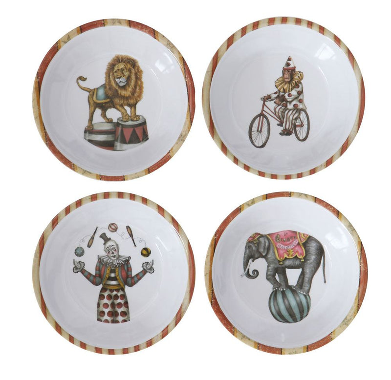 Set of Four Melamine Vintage Circus Image Bowls in White
