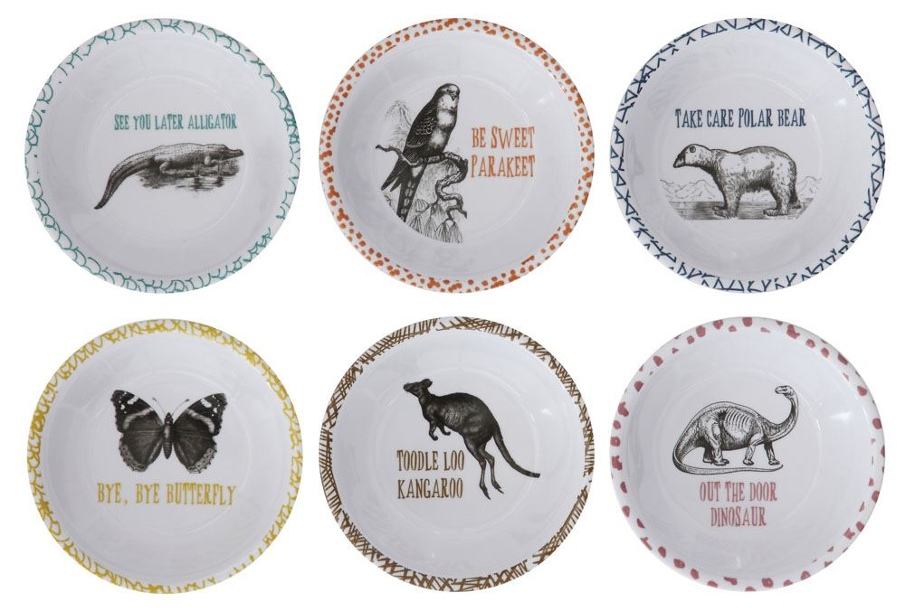 Set of Six Melamine Bowls with Animals & Sayings, White