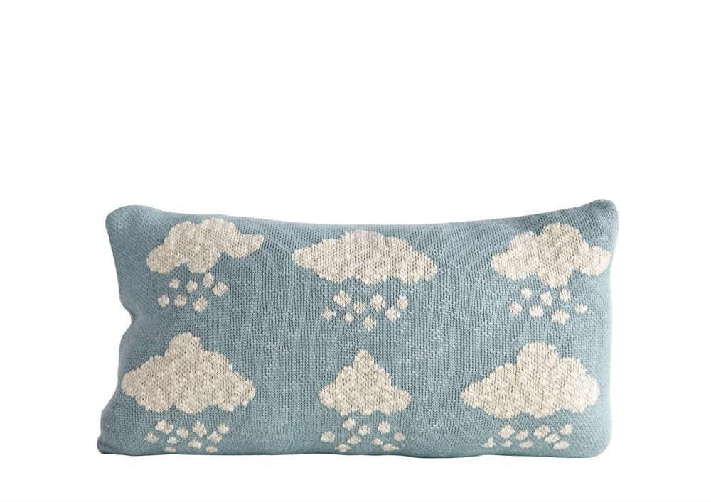Cotton Clouds Pillow in White on Navy