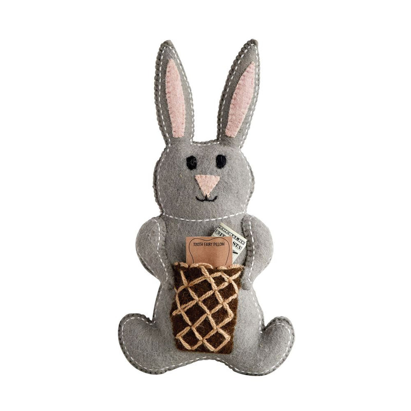 Cotton Bunny Knit Plush Toy in Grey