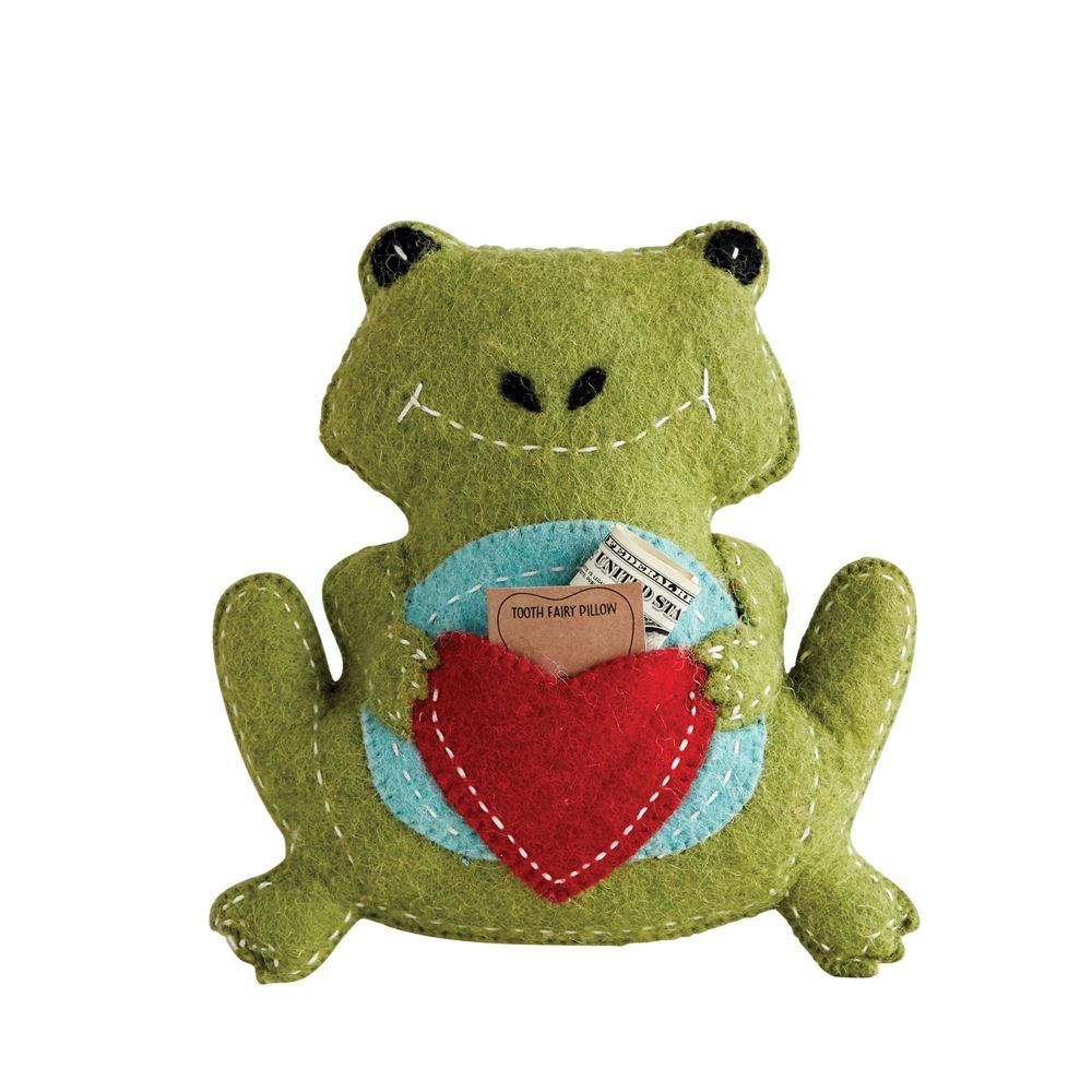 Wool Frog Tooth Fairy Pillow in Green