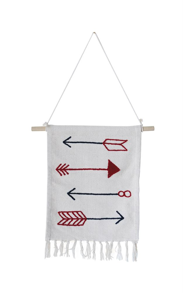 Cotton Alternating Arrows Knit Wall Decor in Red and Blue