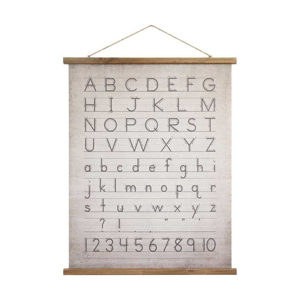 Canvas and Wood Scroll Alphabet and Numbers Wall Decor with Jute Hanger