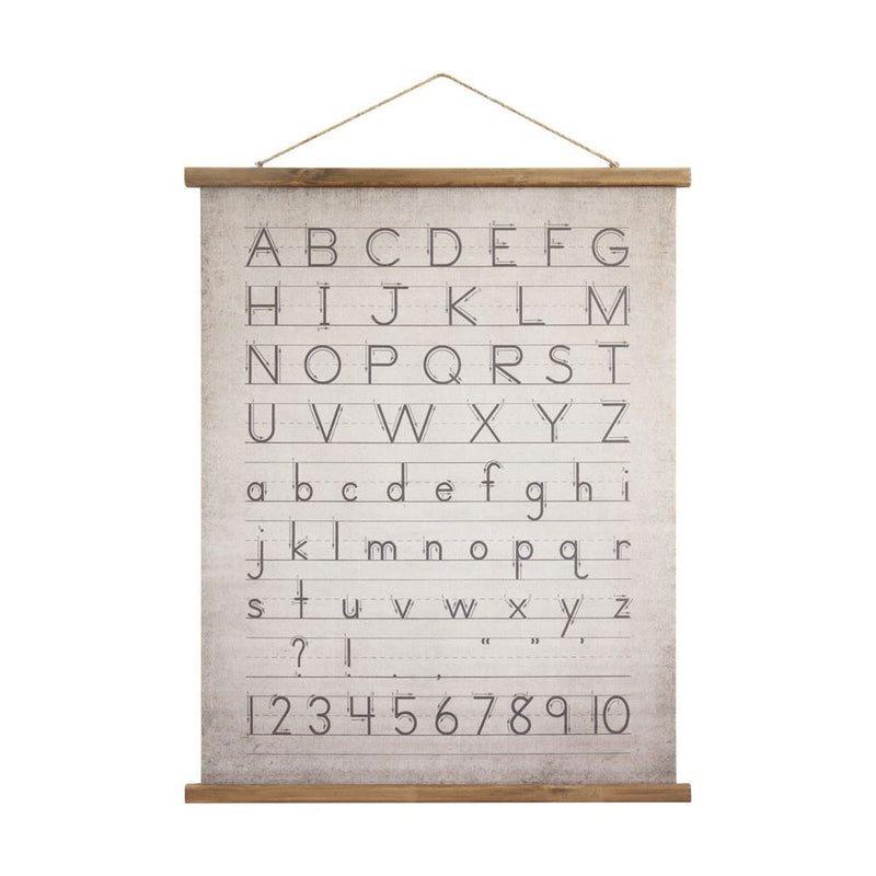 Wood Framed Alphabet Print Wall Decor in Grey and White