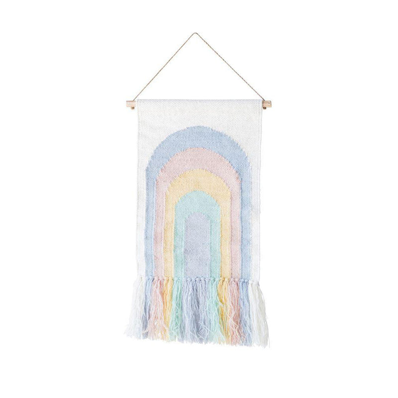 Wool Woven Wall Decor with Rainbow Design