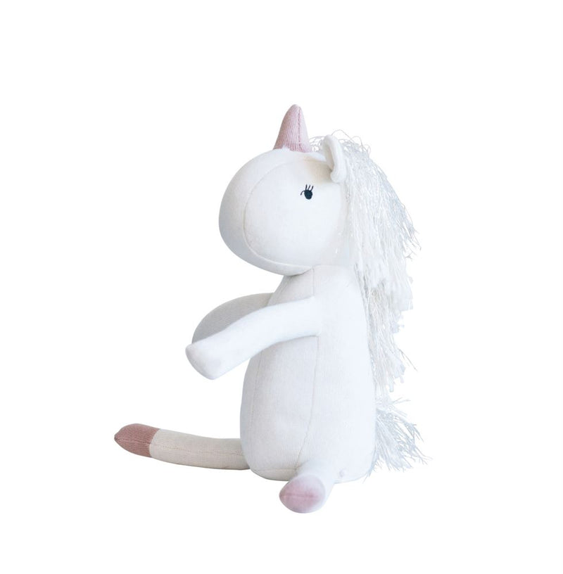 Cotton Unicorn Knit Plush Toy in White