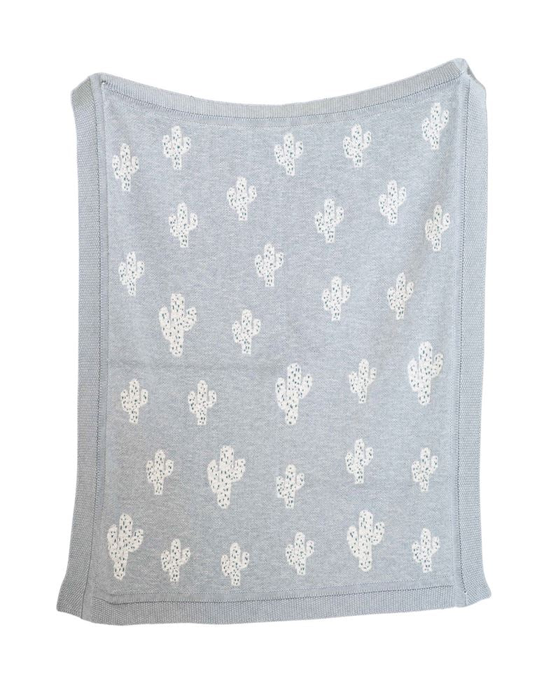 Cotton Cactus Pattern Knit Blanket in Grey
