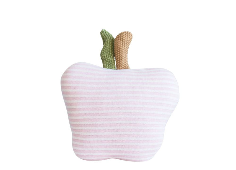 Cotton Apple Shaped Knit Pillow in Pink & White Stripes
