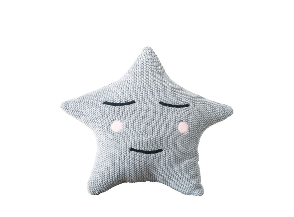 Cotton Star Shaped Knit Pillow in Grey