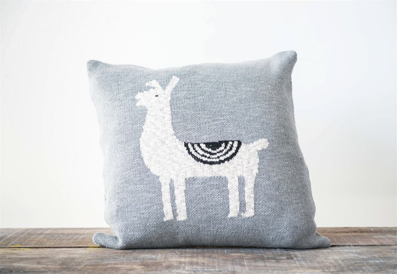 Cotton Llama Square Pillow in Grey
