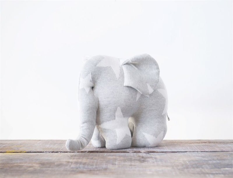 Cotton Elephant with Stars Knit Plush Toy in Grey and White