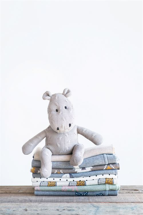 Cotton Hippo Knit Plush Toy in Grey