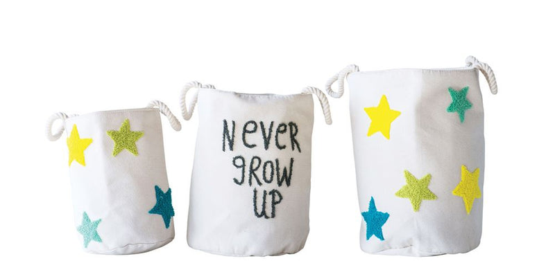 "Set of Three Cotton Embroidered ""Never Grow Up"" and Stars Round Baskets"