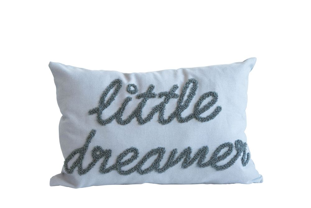 "Cotton Embroidered ""Little Dreamer"" Pillow in Grey"