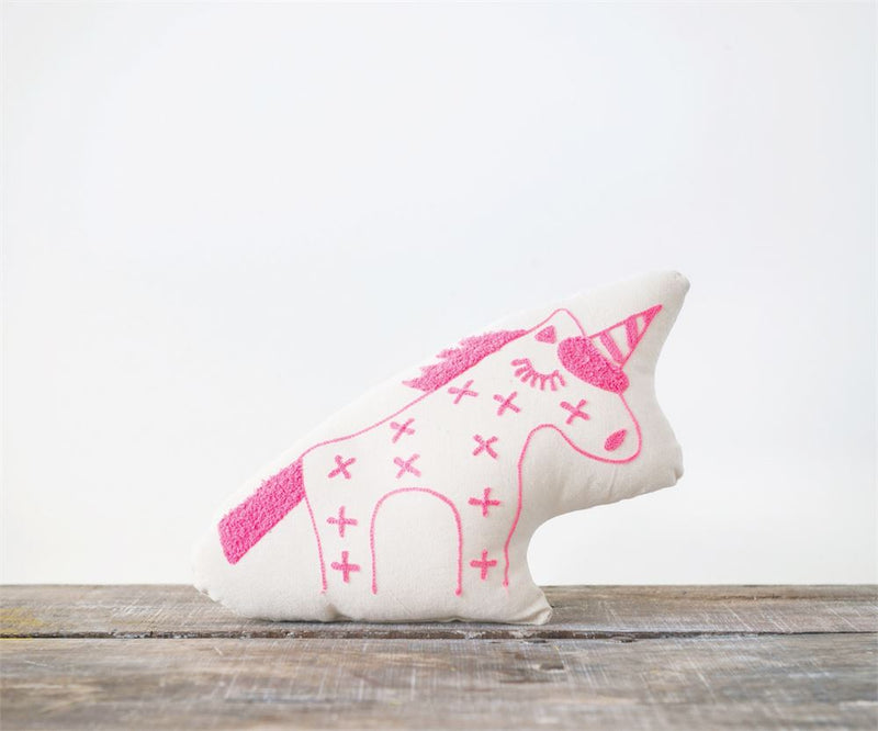 Cotton Unicorn Shaped Pillow in White with Pink Unicorn Embroidery