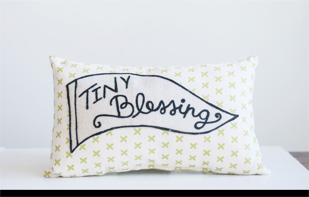 "Cotton ""Tiny Blessing"" Embroidered Pillow in White with Stars"