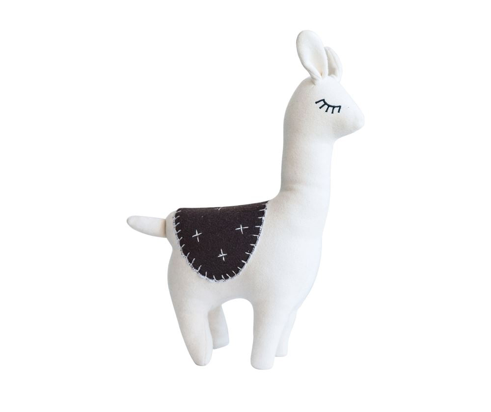 Cotton Llama Knit Plush in White and Brown