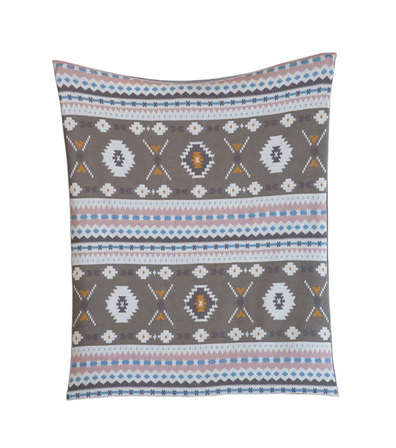 Cotton Aztec Pattern Knit Blanket (400 gram Thread Count)