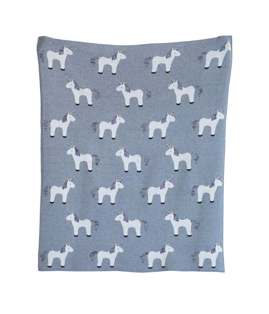 Cotton Unicorn Pattern Knit Blanket with Metallic Thread in Grey