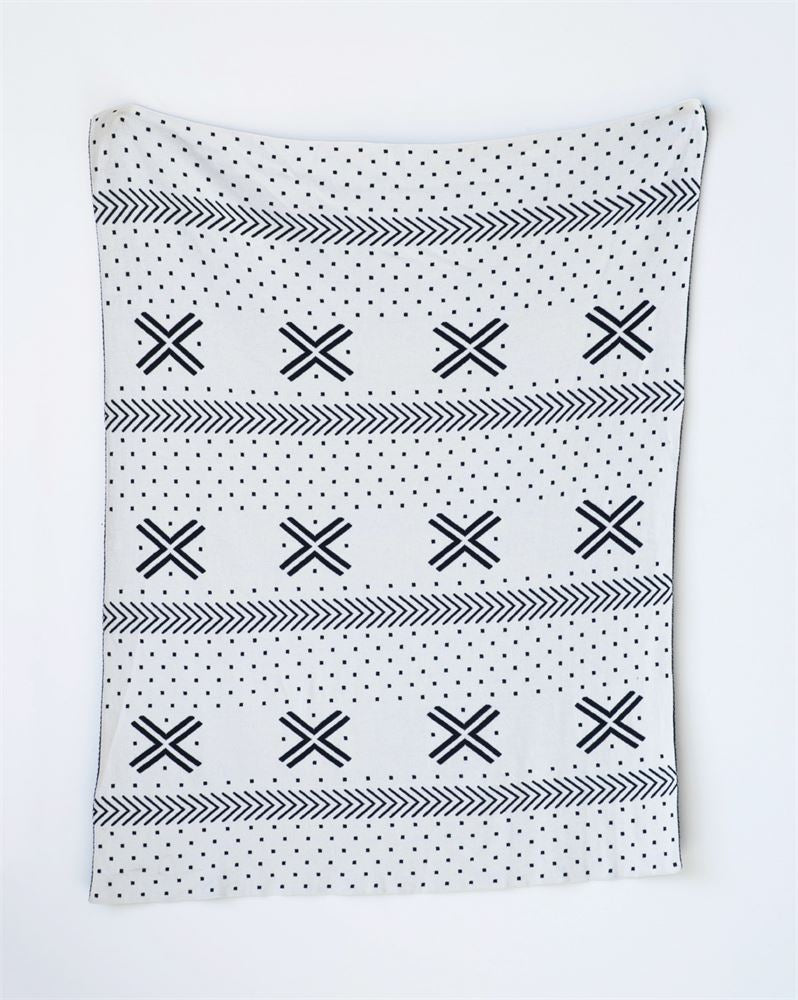 Cotton Black and White Patterned Knit Blanket (400 gram Thread Count)