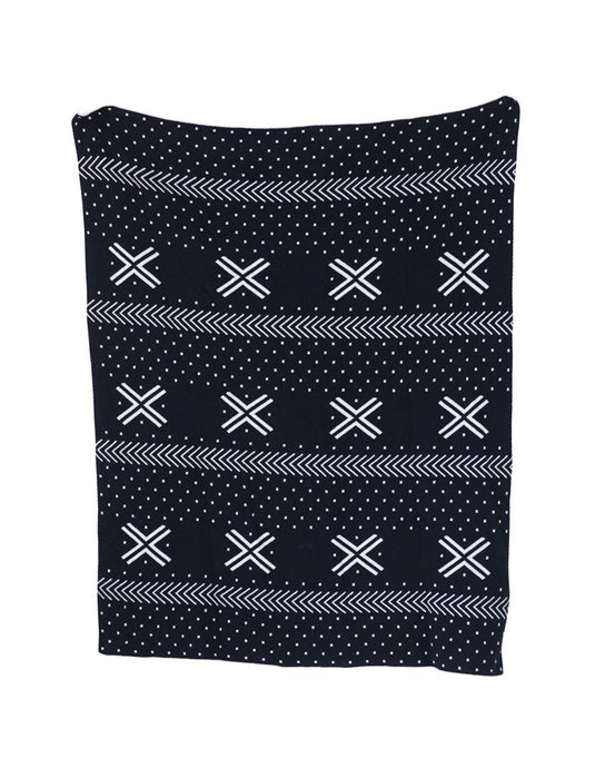 Black and White Patterned Cotton Knit Blanket