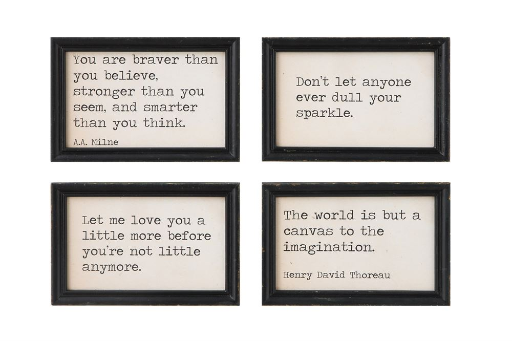 Set of Four Black Wood Framed Wall Decor with Various Quotes