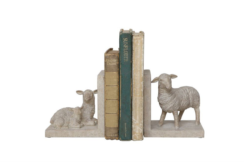 Set of Two Resin Sheep Bookends in Cream
