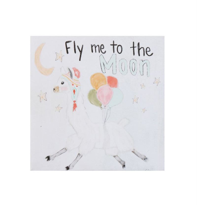 "Canvas Llama ""Fly Me To The Moon"" Square Wall Decor"