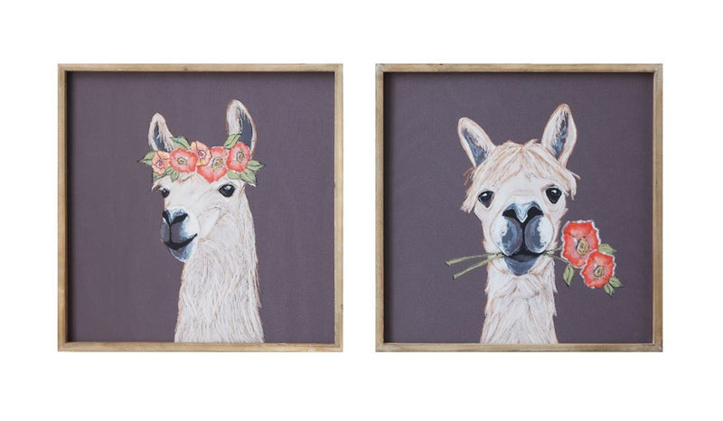 Set of Two Wood Framed Llama with Flowers Wall Decor