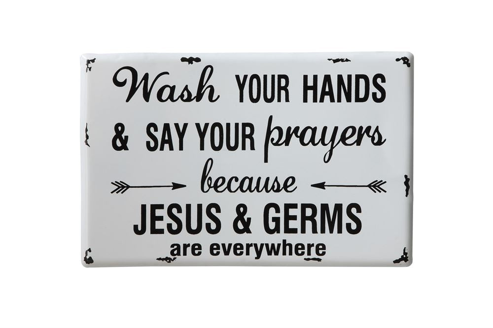 "Metal ""Wash Your Hands..."" Wall Decor in Black Letters on White Background"