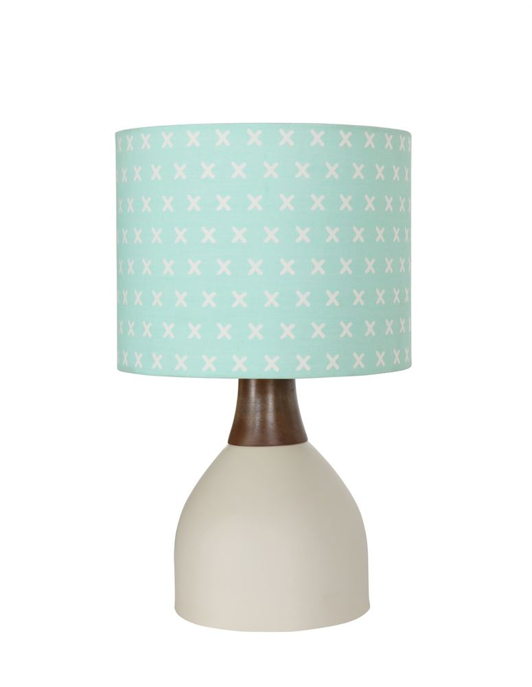 Metal and Wood Table Lamp with Printed Fabric Shade