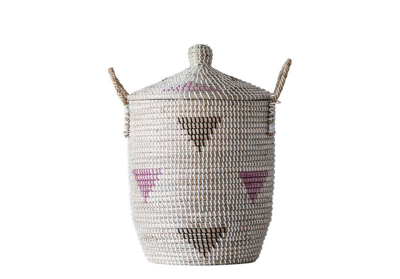 Woven Seagrass Basket with Multicolored Pattern and Lid