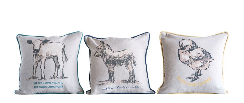 Set of Three Cotton Multicolored Cow, Goat, Duck Pillows in White and Various Trims
