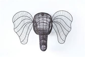 Metal Wire Elephant Head Wall Decor