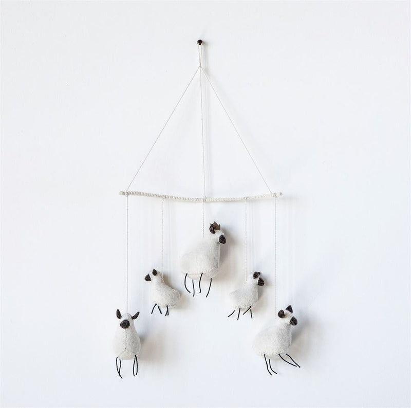 Wool Felt Baby Sheep Mobile in White