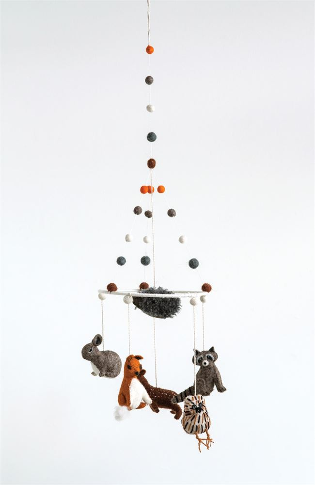 Wool Felt Woodland Animal Mobile featuring Rabbit / Squirrel / Racoon / Chick / Deer