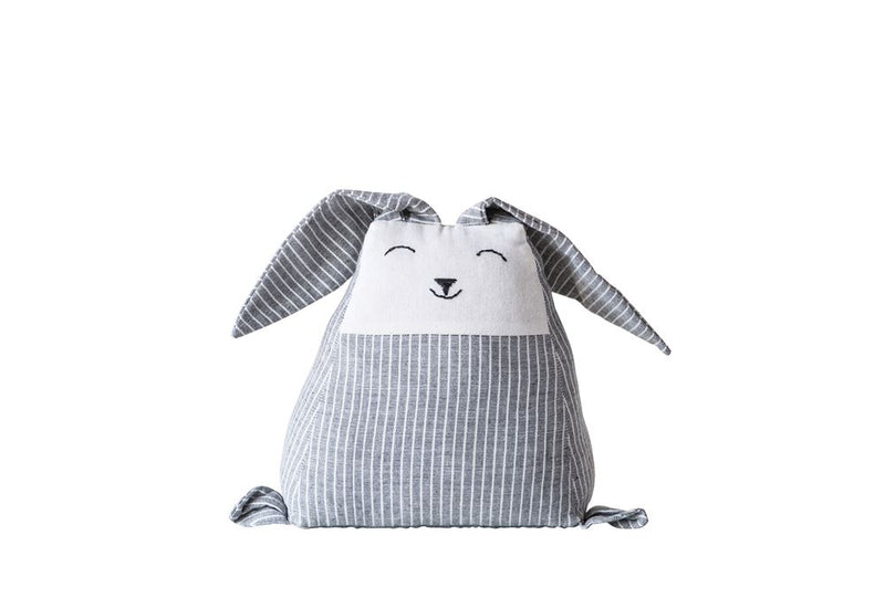Cotton Bunny Shaped Weighted Door Stop in Grey