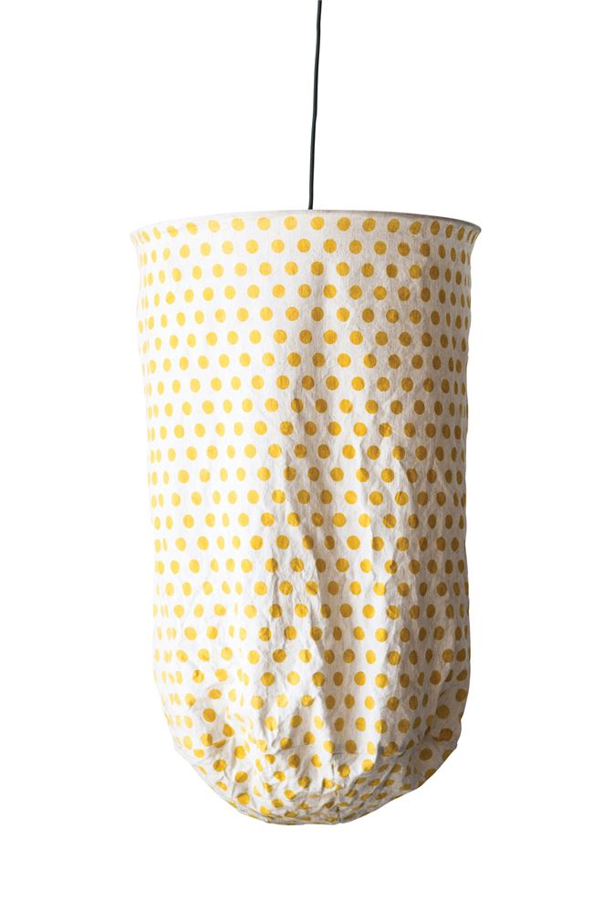 Metal and Fabric Yellow Polka Dot Fabric Pendant Light