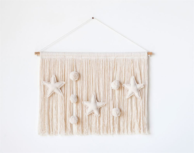 Cotton Stars and Pom Pom's Knit Wall Decor with Metallic Thread in Natural Color