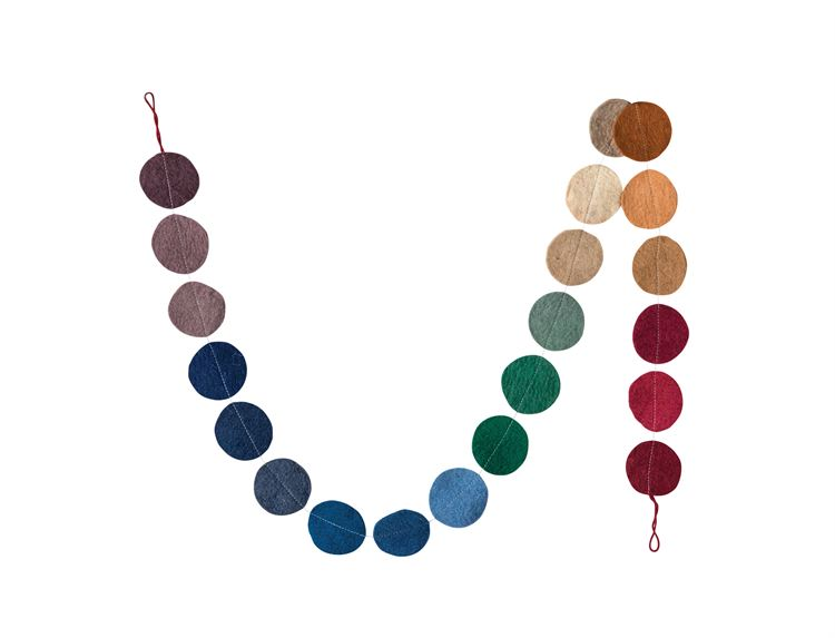 Wool Multicolored Flat Circles Felt Garland