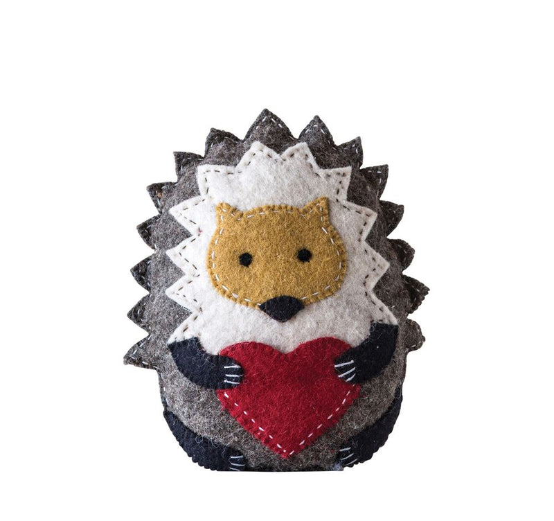 Wool Hedgehog Tooth Fairy Pillow in Brown