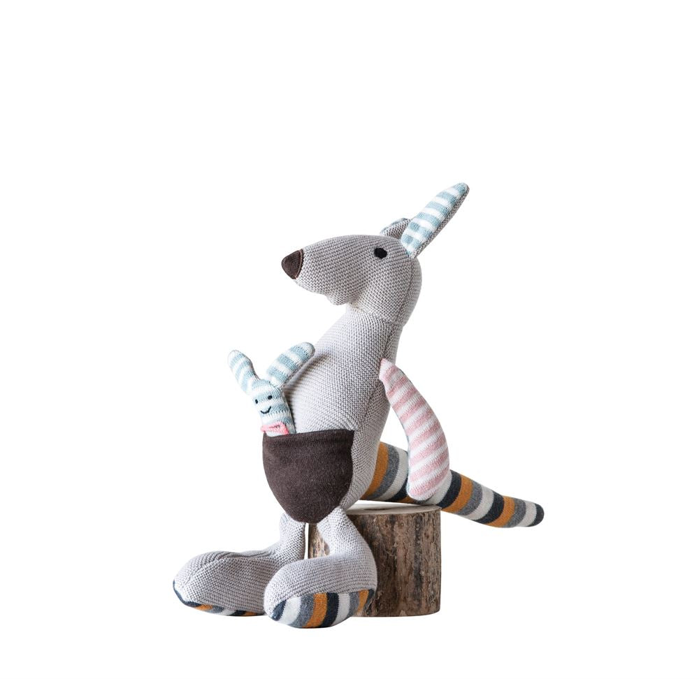 Cotton Kangaroo with Joey and Multi Color Stripes Knit Plush Toy in Grey