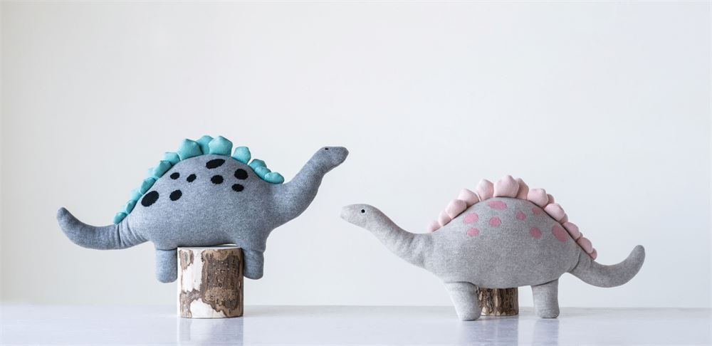 Set of Two Cotton Dinosaurs Knit Plush in Blue and Pink