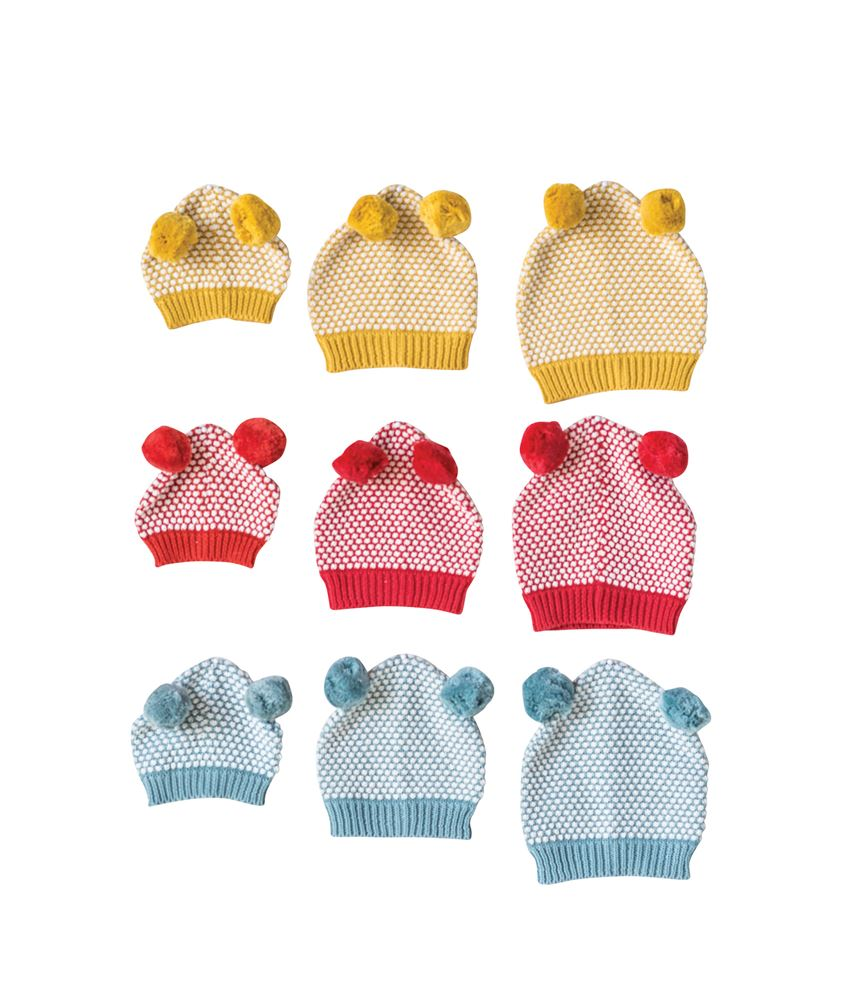 Cotton Knit Red / Blue / Yellow Hat with Pom Poms in Infant / Toddler Sizes